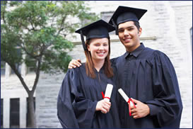 Couple wearing Graduation gown